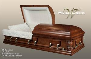 80 - Coolidge, Wood Casket, Walnut Veneer, Satin Walnut Finish, White Velvet Interior